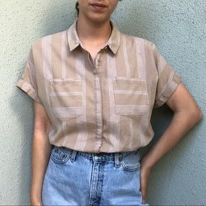 [modern] cotton/linen neutral stripe button up